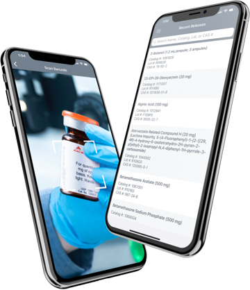 USP Reference Standards Mobile App's barcode scanner and searchable library