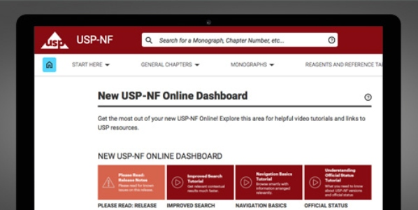 USP-NF online dashboard displayed on computer screen