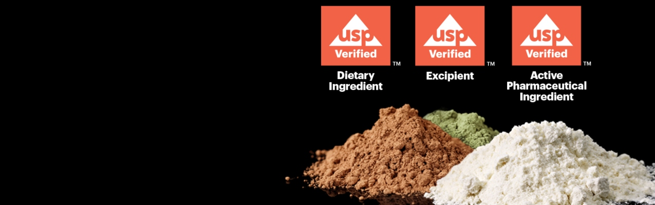 USP-Verified seals above ground ingredients and excipients